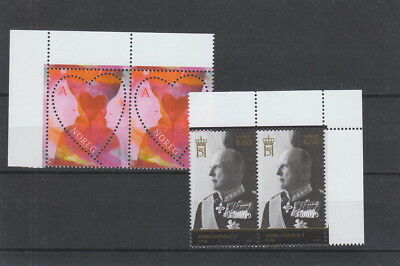 Norway 2007 St Valentines Day and Harald V sets MNH pairs