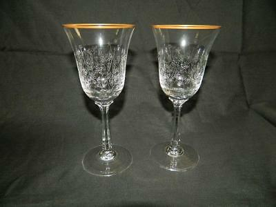 "2 Lenox Fontaine Etch Wine Goblet Glasses Gold Trim 6 3/4"" Free Ship"