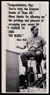 1966 Rene Hall photo Ray Charles record producer tribute vintage trade print ad