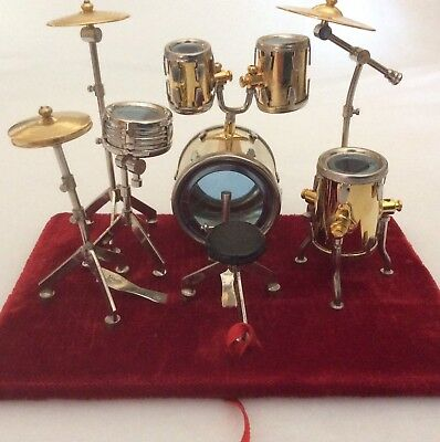 Drum Set Gold Miniature Display Musical Instrument Boxed