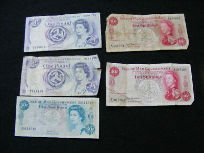 Isle Of Man Banknotes Lot of 5 as pictured mixed circulated condition