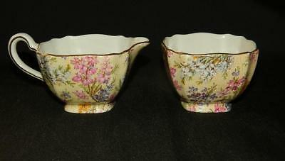 Lord Nelson Heather Chintz Sugar Bowl & Creamer Set Demitasse England Free Ship