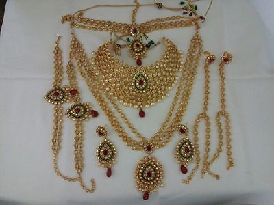 Indian Jewelry bridal Set Long haar Bollywood ethnic gold traditional set