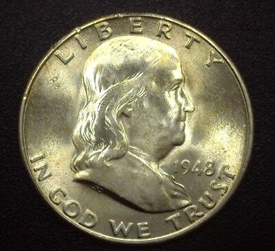 1948-D Franklin Silver 50 Cents  Gem Uncirculated Full Bell Lines