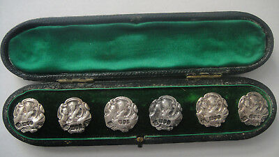 Set Of 6 Antique Silver Victorian Edwardian Buttons 1901