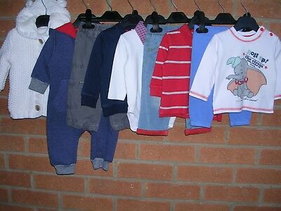 DISNEY GEORGE F&F etc Boys Bundle Tops Jeans Rompers Cardigan  Age 3-6m