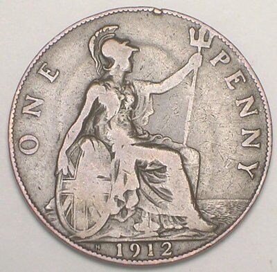 1912 H UK Great Britain British One 1 Penny King George V Coin F+