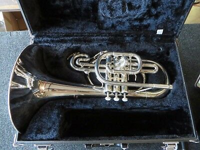 Yamaha YMP204MS Silver Marching Mellophone w/ Factory Case. Very Clean! #YMP10