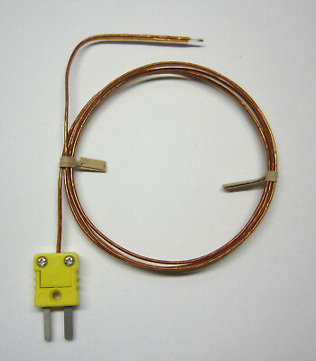 K-Type Thermocouple Wire Probe w. high temperature Kapton insulation 3 ft Sensor