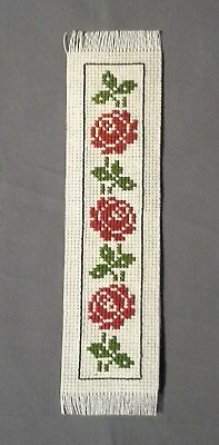 BOOKMARK - Red ROSES - Cross Stitch (Completed)