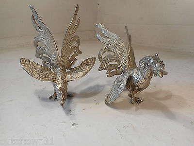 Pair of plated Fighting Cocks , Chickens  ref2306