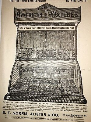 American Watches Incredible Display Cabinet Illustrated 1880's Ad Chicago