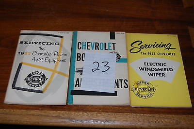 Original 1957 Chevrolet Body Adjustments Wipers Power Assist Booklets