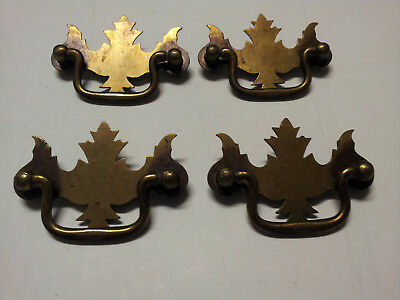 4 Vintage Brass Ornate Chippendale Dresser Drawer Pulls Handles