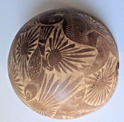 Vintage, Antique, Finely Carved Coconut 1/2 Shell bowl ~ birds flowers free ship