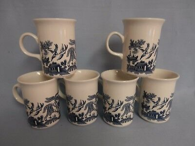 Lot Of 6  Vintage Blue Willow Churchill England Tall Coffee Mugs Excellent!!!