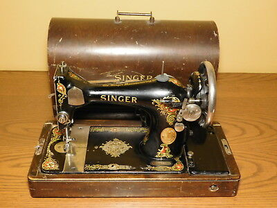 c1911 Antique Singer Manufacturing Company Electric Sewing Machine DECORATED