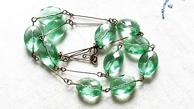 Czech Faceted Flat Oval Glass Bead Necklace Vintage Deco Style