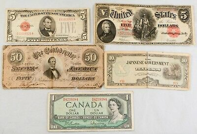 5 Piece Lot of U.S. and Foreign Currency