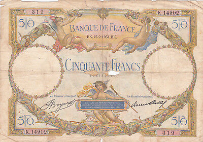 50 Francs Vg Banknote From France 1934! !pick-80