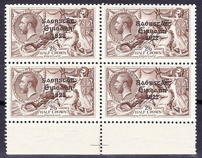 Ireland1927 2/6 VAR WIDE+NARROW DATE(x2)SE-TENANT BLOCK FOUR SG83a MNH/UMMc£600+
