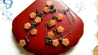 Czech Opaqe Caramel Flower Glass Bead Necklace Vintage Deco Style