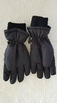 Youth Black Ski Snow Insulated Waterproof Thinsulate Gloves Size Small