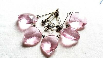 Czech Pink Faceted Glass Pendant Necklace Vintage Deco Style