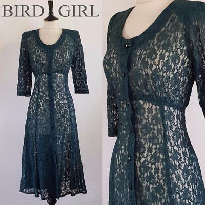 Indie 1980S Vintage Green Floral Pace Button Through Grunge Long Dress 12