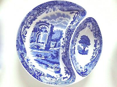 1 one Spode Blue Italian divided dip relish bowl dish microwave safe
