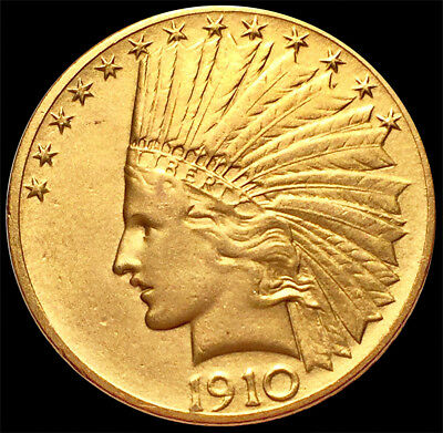 1910 Philadelphia Gold United States $10 Dollar Indian Head Eagle Coin About UNC