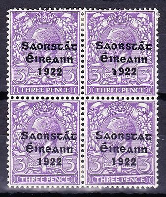 "Ireland1923 -3d VARIETY ""NO ACCENT"" SG57a IN BLOCK OF FOUR-FRESH MH c£330+"