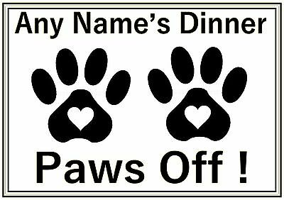 Personalised A4 Cat Dog Pet Feeding Food Water Dinner Mat Black White Paws Off