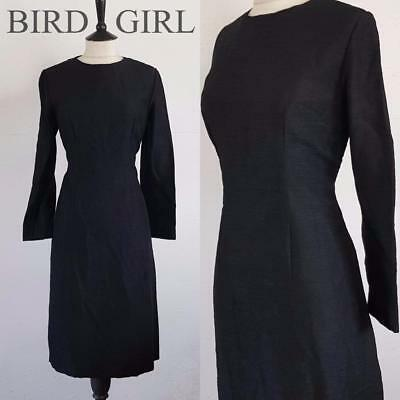 Mod Chic 1960S Vintage Black Textured Wool Winter Scooter Cocktail Dress 12