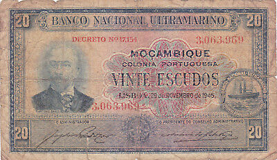 20 Escudos Vg Banknote From Portuguese Mozambique 1945!pick-96