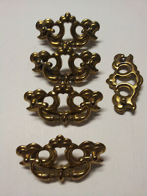 Lot of 4 Vintage Brass Ornate Dresser Drawer Pulls Handle