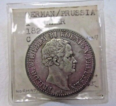 1829-A Prussia German States One Thaler Silver