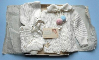 Vintage 1950's Baby Sweater Set Unworn In Box Pearls Pink Blue Poms Booties Hat