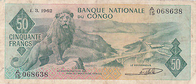 50 Francs  Fine Banknote From Congo 1962!pick-5!rare