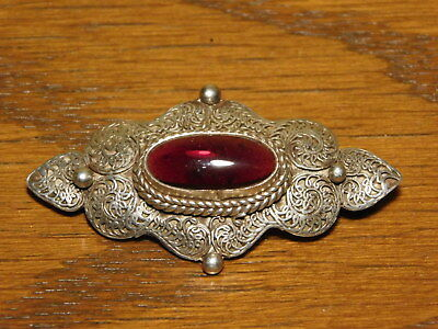 Antique Sterling Silver Brooch Pin with Genuine Natural Amber Stone