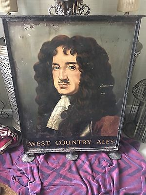 "Large Vintage Painted Metal English Pub Sign Charles 2nd ""west Country Ales"""