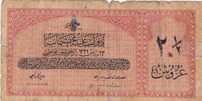 2 1/2 Piastres Vg Banknote From Ottoman Turkey 1913!pick-86