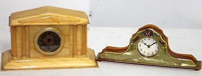 Lot Of 2 Antique Celluoid / Bakelite Dresser Clocks.  New Haven & Sessions.