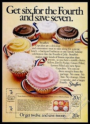 1975 Stouffer's iced cupcakes photo vintage print ad