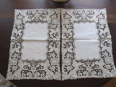 (2) Vintage Antique Ivory Off-Wht Italian Lace Placemats Runners Cherubs Angel