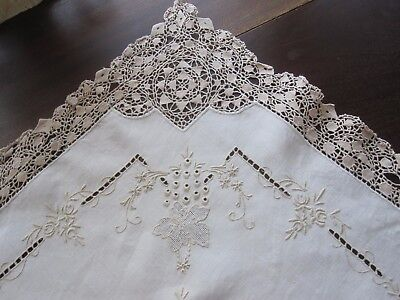 Gorgeous Vintage Antique Beige Embroidered Appenzell Lace Tablecloth 33 X 34 Euc