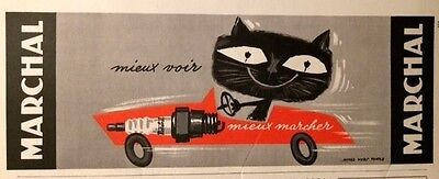 Ancienne Publicite 1961 Marchal Bougie Chat Colin Pub French Ad Advertising