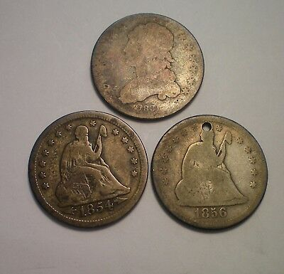 1831 Bust, 1856 O Holed And 1854 Seated Liberty Quarter