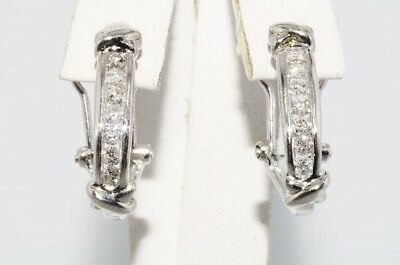 "$1,100 .80Ct Natural Round Cut Diamond ""x"" Style Half-Hoop Earrings .925 Silver"