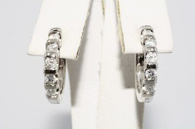 $2,500 .50Ct Natural Round Cut Diamond 5 Stone Hoop Earrings 14K White Gold